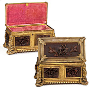 Fine Antique French Box, Casket, Carved Wood Panels Set in Dore Ormolu Frame
