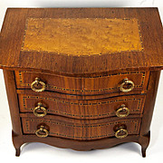 "RARE Antique French Chest of Drawers, 12"" Ebeniste's Apprentice Commode, Doll Size Furniture, c. 1870s"