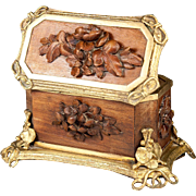 Antique French Black Forest Carved Wood & Ormolu Jewelry Box, Chest, Casket