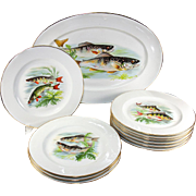 10 Fine Vintage Limoges Fish Plates and 1 Large Platter, Hand Painted on Transfer