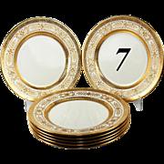 Set of 7 Antique Minton Raised Encrusted Gold Plates, H2021, c.