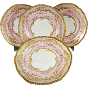 Pink! Fab Antique 19th C. Coalport Raised Gold Enamel Encrusted Dinner Plates, Set of 4