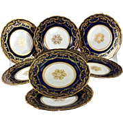 10 Antique Raised and Encrusted 22k Gold Side Plates, Royal Doulton c. 1902