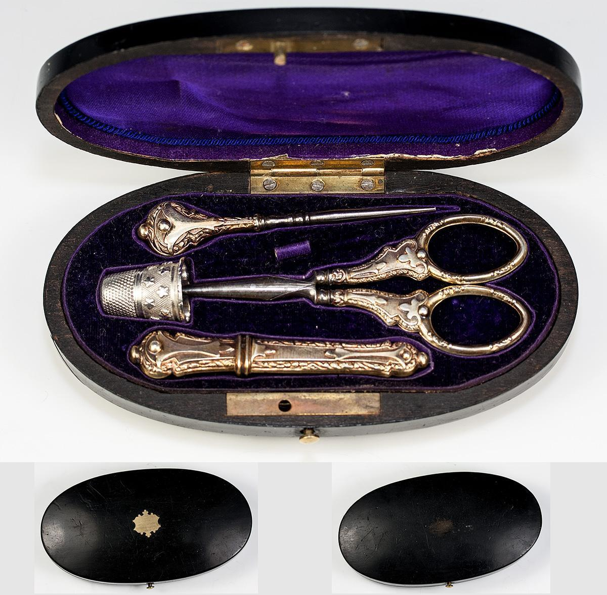 Antique French Sterling Silver Sewing Set in Etui, Box, c.1850 - 1870, 18k Vermeil Scissors, Needle Case, Thimble, Stiletto