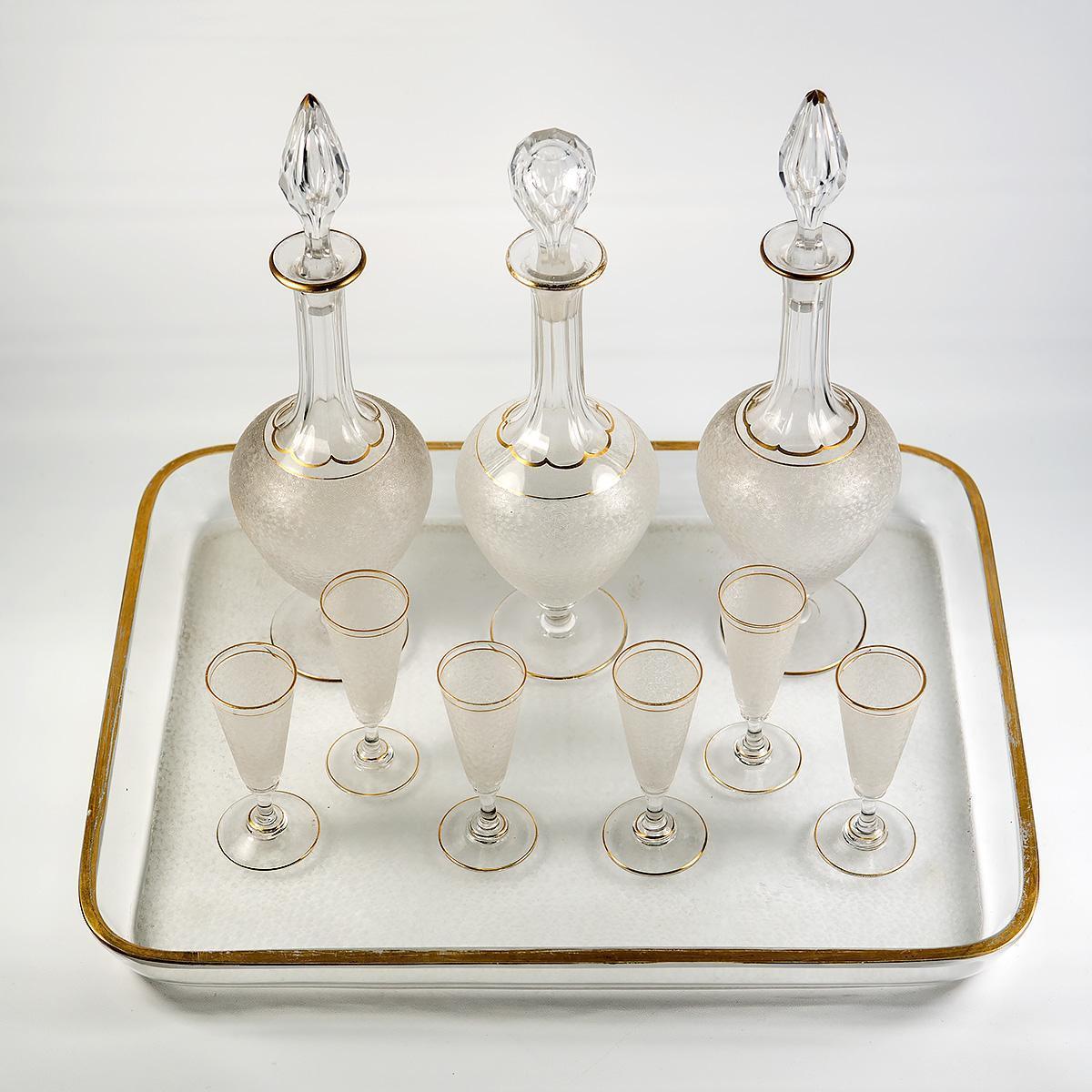 Antique French Liqueur Service, St. Louis - 3 Decanters, 6 Cordials, Stems, Tray
