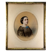 Antique French Original Painting, Portrait c. 1860 Woman. Pastels in Lemon-Gilt Frame #1