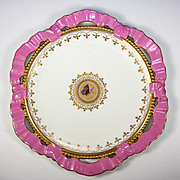 Antique Victorian English Plate, Pink Ribbon Ruffle Cutaway Border, Butterfly c.1883