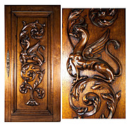 Hand Carved Antique Griffen Cabinet Door, Wall Plaque, Acanthus Neo-Gothic Panel
