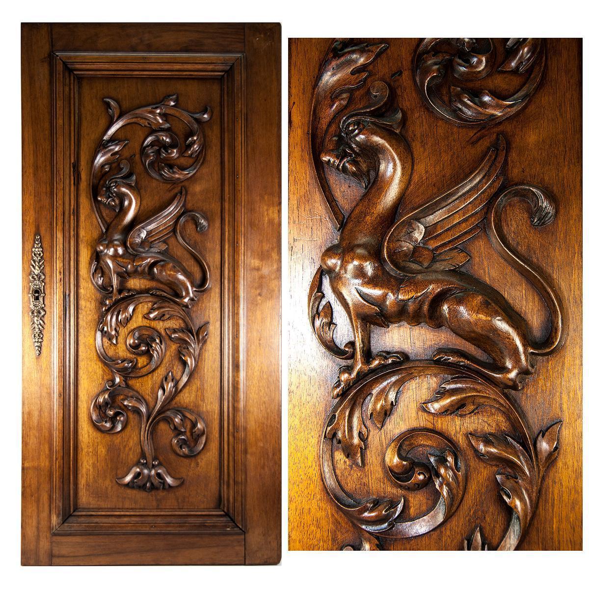 Carved Door Panels : Hand carved antique griffen cabinet door wall plaque