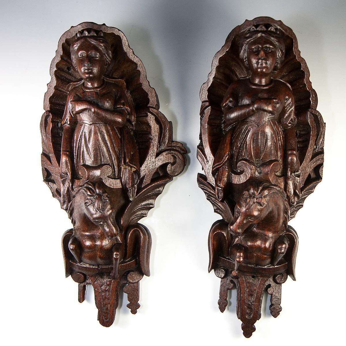 Superb RARE Hand Carved Figural Pillar or Wall Ornaments, Plaque, Queens on Horses - c.1600-1700s