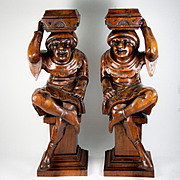 Antique Pair of Hand Carved Wood Figures, Great as Candle Stands or Cabinet Supports