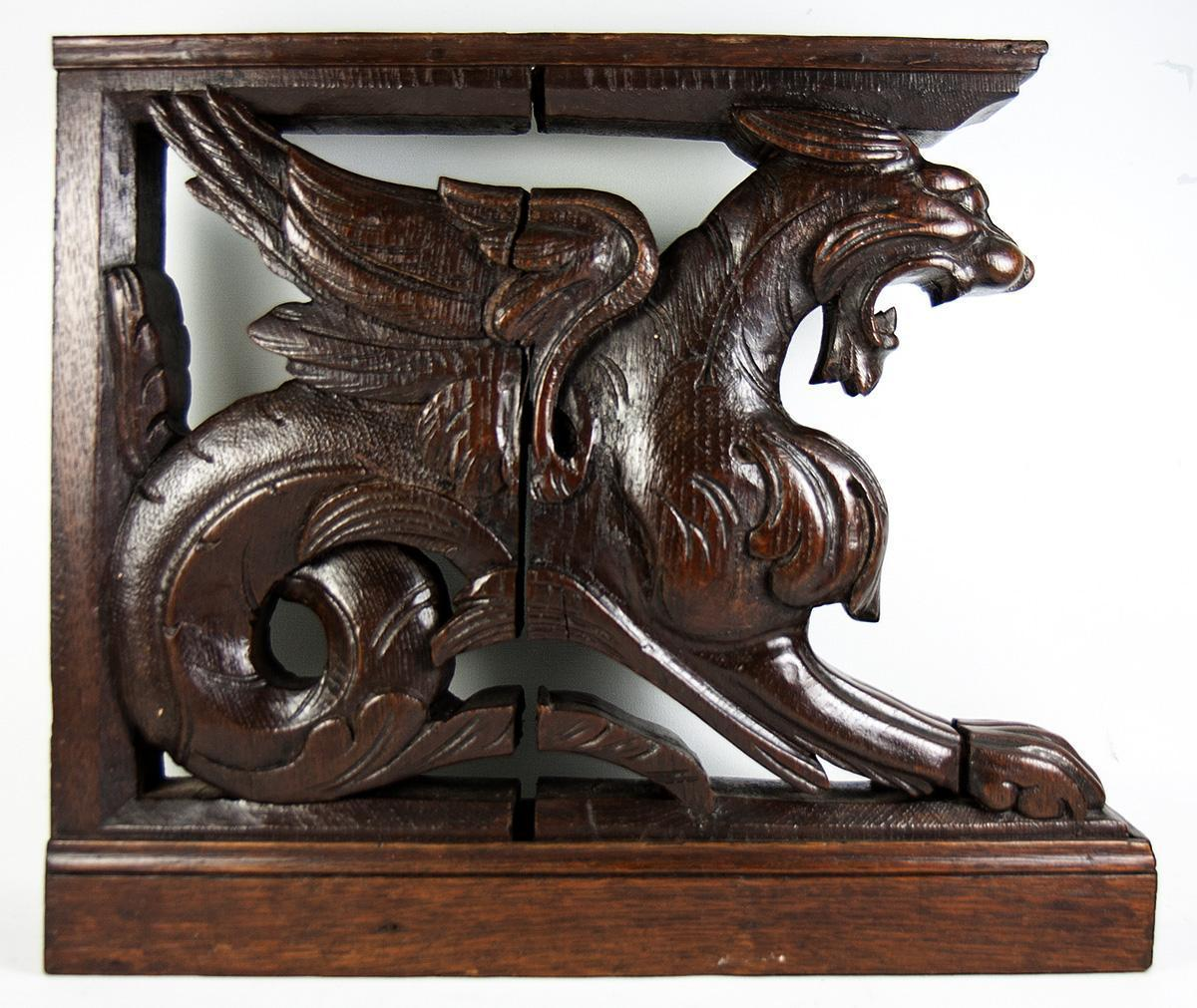 Pair (2) Hand Carved Wood Griffens, 19th C. Supports for Cabinetry, HUGE and Fun