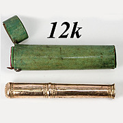 RARE Antique 1700s 12k Gold Sealing Wax Etui, Seal is 42.15 grams, with Shagreen Case, Etui.