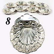 Set of 8: Fine Gorham Sterling Silver Scallop Shell Butter Pat or Nut Cups, Eight