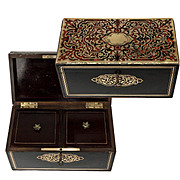 Antique French Napoleon III Boulle 2-Well Tea Caddy, Victorian Era Box, Casket