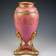 Rare Fine Antique French Hand Decorated Pink Porcelain Vase by Redon, Limoges