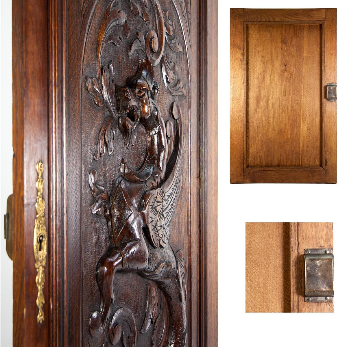 Antique French Carved Wood Cabinetry Door Plaque With Neo