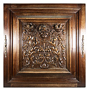 Opulent Hand Carved Antique Cabinet Door, Plaque in Neo-Renaissance Manner, Figural