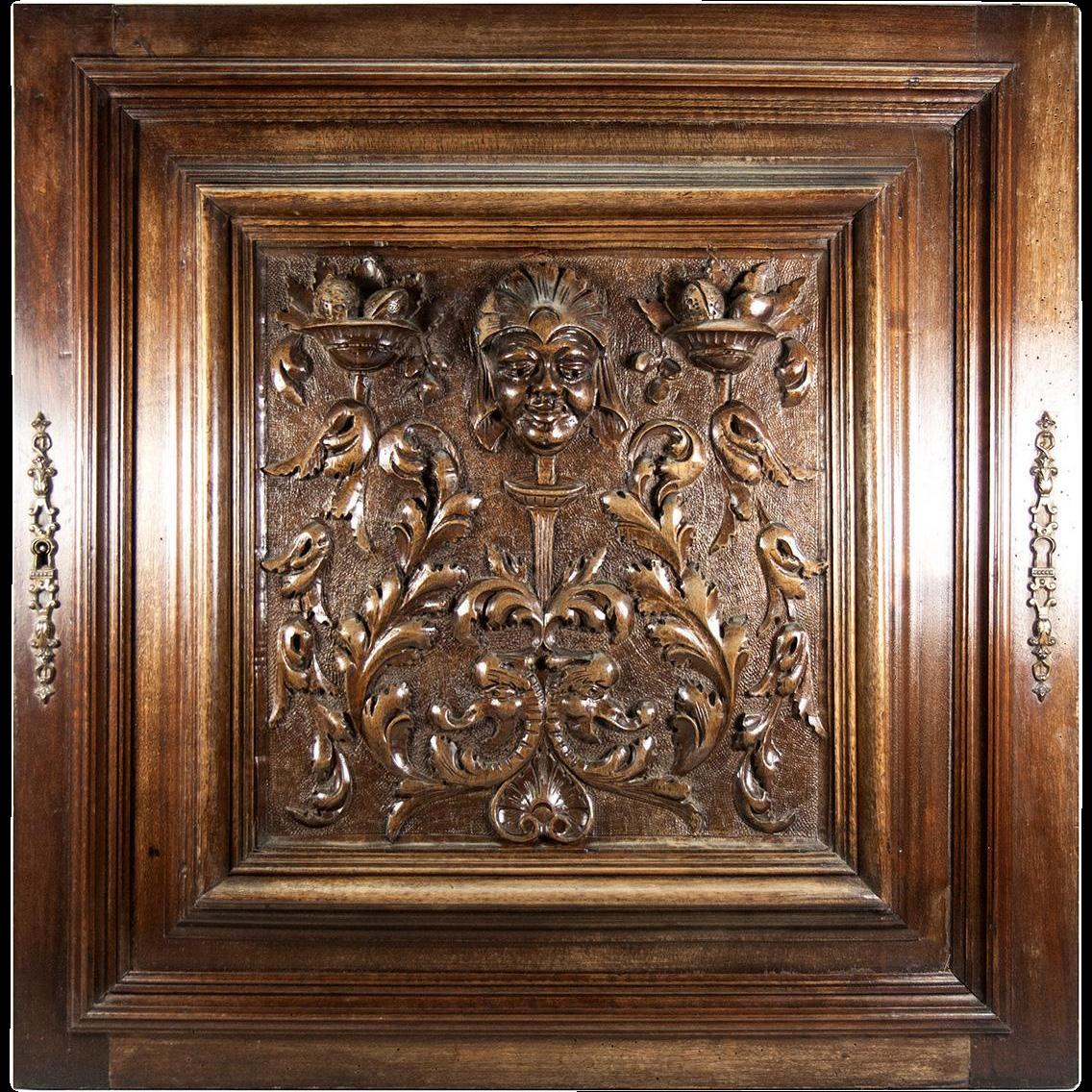 Opulent Hand Carved Antique Cabinet Door Plaque In Neo