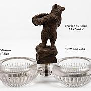 BIG Antique Hand Carved Black Forest Bear Double Open Salt, Pepper or Sweet Meats Serving Set