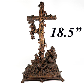 """Antique Hand Carved 18.5"""" Tall Black Forest Holy Font, Crucifix, with Bird and Lizard"""