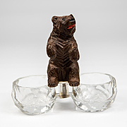 Charming 19th c. Antique Hand Carved Black Forest Bear Double Open Salt, Pepper