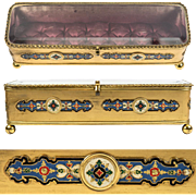 Superb Antique French Glove or Jewelry Box, Vitrine Top, Elaborate Kiln-fired Champleve Enamel