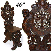 Antique Italian Renaissance Carved Walnut Hall Chair, Winged Cherubs, Acanthus, Mascaron ++