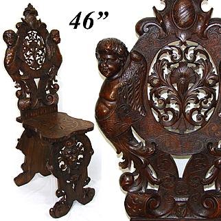 Antique Italian Renaissance Carved Walnut Hall Chair, Winged Cherubs, Acanthus, Mascaron ++