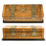 Antique French Glove or Jewelry, Documents Box, Casket, Marquetry and Brass Applique