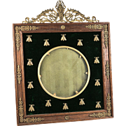 """Antique French Empire Table Frame, Napoleon Bees and Dore Bronze Crest on Wood, 7.5"""""""