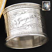 "Antique French Sterling Silver Napkin Ring, ""Georgette"", Guilloche Style with Sea Horse Serpent, Hippocamp"