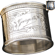 """Antique French Sterling Silver Napkin Ring, """"Georgette"""", Guilloche Style with Sea Horse Serpent, Hippocamp"""