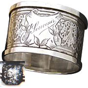 """Antique French Sterling Silver Napkin Ring, """"Souvenir"""", Guilloche Style Decoration"""