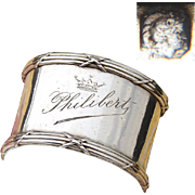 """Elegant Antique French Sterling Silver 2"""" Napkin Ring, """"Philibert"""" with CROWN Engraving"""