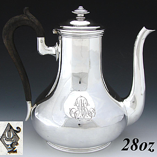 """Antique French ODIOT Sterling Silver Tete-a-Tete Sized 28oz. Tea Pot or Coffee Pot, """"AR"""" Monogram"""