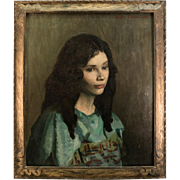 """French Oil Painting Portrait, Young Beauty, Impressionist, in Frame Artist Signed, 25"""" x 21.5"""""""