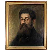 "Antique Oil Painting Portrait of a Handsome Young Man in Specs, Artist Signed, in Frame 27"" x 23"""