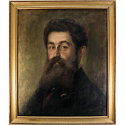 """Antique Oil Painting Portrait of a Handsome Young Man in Specs, Artist Signed, in Frame 27"""" x 23"""""""