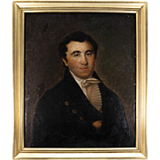 """Antique French Oil Painting on Canvas, c.1820s Portrait in Frame, A Gentleman, 29.5"""" x 25"""""""
