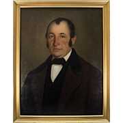 """Antique French Oil Painting on Canvas, 19th c Portrait in Frame, A Gentleman, 28"""" x 23"""""""