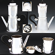 RARE Antique French Louis Philippe Era Sterling Silver 4pc Cafe Presse, Travel Coffee or Tea Pot, 1819-1838 Marks