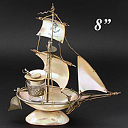 "Antique French Mother of Pearl & Ormolu Sail Boat, Ship, a ""Cherbourg"" Souvenir Inkwell"
