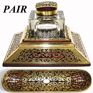 """Rare LG Antique French 7"""" Boulle Inkstand with Cut Crystal & Boulle Inkwell and Matching Pen Tray"""