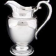 "Fine Vintage 1952 Gorham Sterling Silver 10"" 4.5 Pint Water Pitcher, English Gadroon"