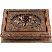 Antique Hand Carved Black Forest Game, Cards or Jewelry Box, Chest, c.1880s