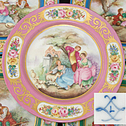 "Antique French Sevres Marked 10"" Cabinet Plate, Pink & Gold, Hand Painted Romantic Scene Center"