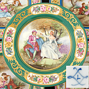 "Antique French Sevres Marked 10"" Cabinet Plate, Green & Gold, Hand Painted Romantic Scene Center"