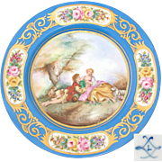 "Antique French Sevres Marked 10"" Cabinet Plate, Blue & Gold, Hand Painted Romantic Scene Center"