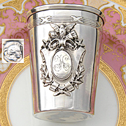 Antique French Sterling Silver Wine or Mint Julep Cup or Timbale, Bird over Torch & Quiver